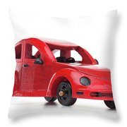 Red Retro Wooden Toy Car Isolated On White Background Throw Pillow