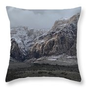 Red Rock Canyon Snow Storm Throw Pillow
