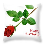 Red Rose Happy Birthday  Throw Pillow