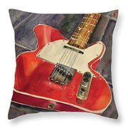 Red Telecaster Throw Pillow