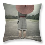Red Umbrella Throw Pillow by Joana Kruse