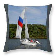 Red White And Blue Sails Throw Pillow