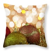 Red,yellow And Gold Cristmas Baubles Throw Pillow