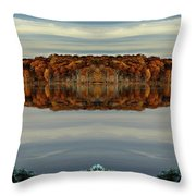 Mirrored Panoramic, Reflecting Fall  From The Banks Of  Bishop Pond Throw Pillow