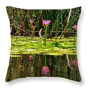 Reflective Wild Water Lilies Throw Pillow