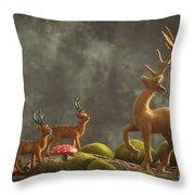 Reindeer Scene Throw Pillow