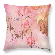 Remember To Be Grateful Throw Pillow