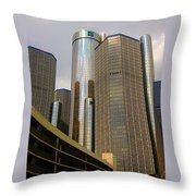 Renaissance Center In Detroit Throw Pillow by Guy Ricketts