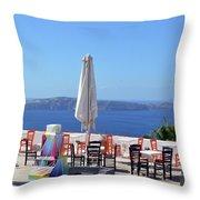 Restaurant By The Aegean Sea  In Santorini, Greece  Throw Pillow