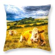 Resting Cows Art Throw Pillow