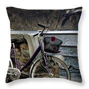 Retro Bike Throw Pillow by Joana Kruse