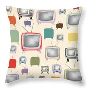 retro TV pattern  Throw Pillow