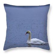 Rhapsody In Blue. Mute Swan Throw Pillow