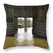 Richmond Floodwall Opening For Canal Throw Pillow