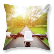 Riding A Bike First Person Perspective. Smartphone On Handlebar. Speed Motion Blur Throw Pillow