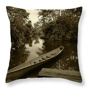 River Boat Filled With Water Throw Pillow