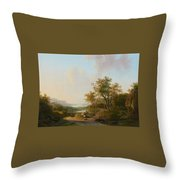 River Landscape With Views Of A Castle And Town Throw Pillow