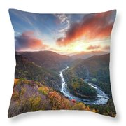 River Meander At Sunrise Throw Pillow