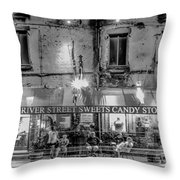River Street Sweets Candy Store Black White  Throw Pillow