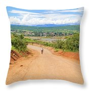 Road Landscape In Tanzania Throw Pillow