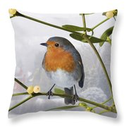 Robin On Mistletoe Throw Pillow