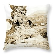 Rock Formation, Garden Of The Gods, 1915, Vintage Photograph Throw Pillow