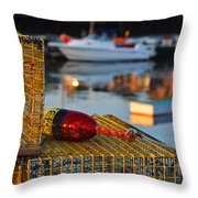 Rockport Ma Lobster Traps Throw Pillow