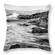 Rocky Asilomar Beach In Monterey Bay At Sunset. Throw Pillow