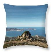 Rocky Outcrop Above Calvi Bay In Corsica Throw Pillow
