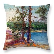 Rocky Point Cove At Bass Lake Throw Pillow