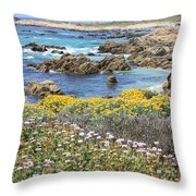 Rocky Surf With Wildflowers Throw Pillow