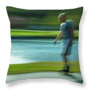 Rollerblading In Forest Park Throw Pillow