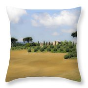 Rolling Green Hills With Trees Throw Pillow