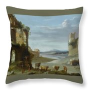 Roman Landscape With Ruins Throw Pillow