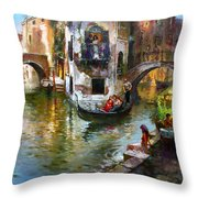 Romance In Venice Throw Pillow