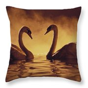 Romantic African Swans Throw Pillow