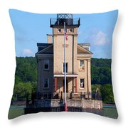 Rondout Lighthouse On The Hudson River New York Throw Pillow