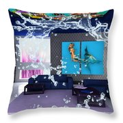 Rooftop Saltwater Fish Tank Art Throw Pillow