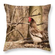 Rooster In The Woods Throw Pillow