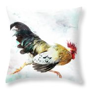 Rooster Running Throw Pillow