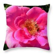 Rose Bee Throw Pillow