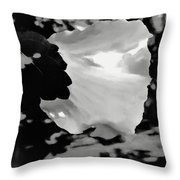 Rose Of Sharon In Black And White Throw Pillow