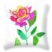 Rose, Watercolor Painting Throw Pillow
