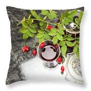 Rosehip Tea With Lemon In Glass Throw Pillow