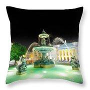 Rossio Square Lisbon Throw Pillow