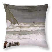 Rough Sea At Etretat Throw Pillow
