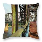 Route 66 - Chain Of Rocks Bridge Throw Pillow
