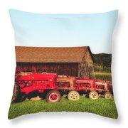 Row Of Antique Farmalls Throw Pillow