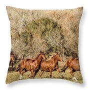 Running Horses Throw Pillow