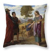 Ruth In Boazs Field Throw Pillow